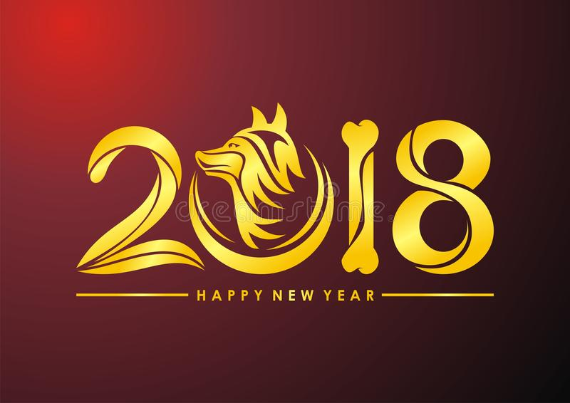 chinese-new-year-dog-text-design-template-bone-head-golden-color-design-96625632